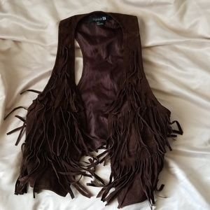 faux suede frindged vest